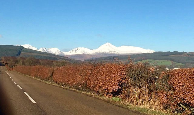 snow capped mountains in Arran