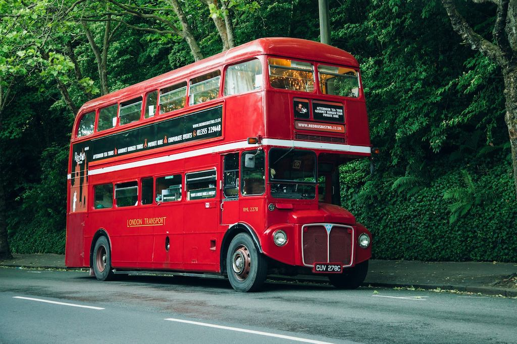 Scottish travel blogger, Vintage red bistro bus