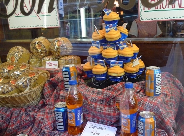 Irn Bru cupcakes from Fisher and Donaldson