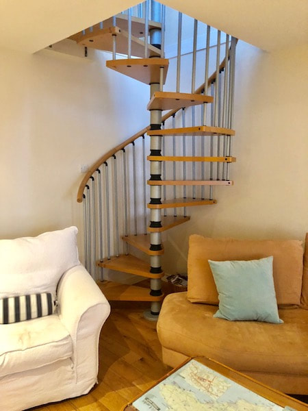 Spiral staircase in this cottage by the sea in Pittenweem