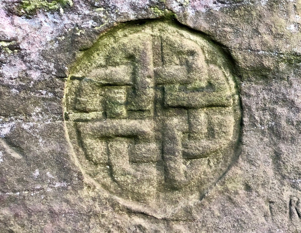 Celtic cross at Dunino Den, Fife