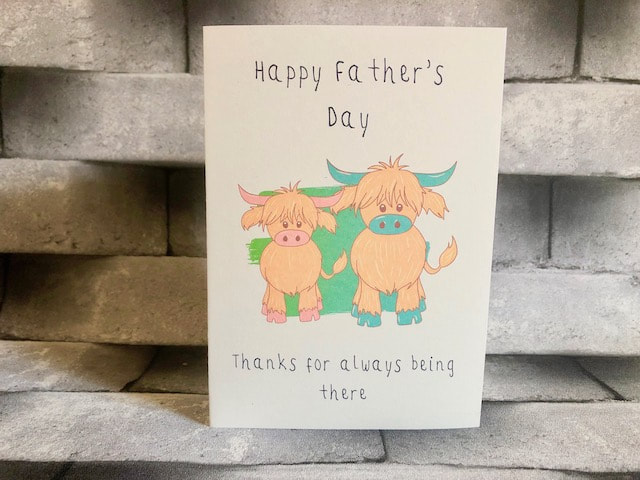Highland Cow, father's day card