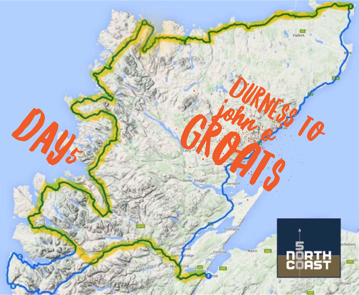 Map of the Durness to John o'Groats section of the NC500 in Scotland